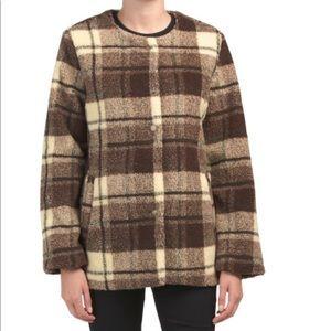 NWOT Sanctuary Plaid Teddy Snap Front Jacket